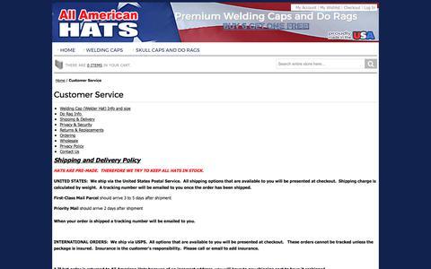 Screenshot of Support Page allamericanhats.com - Customer Service - captured Oct. 8, 2017