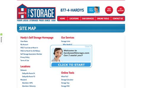 Screenshot of Site Map Page hardysselfstorage.com - Site Map | Hardy's Self Storage - captured May 15, 2017
