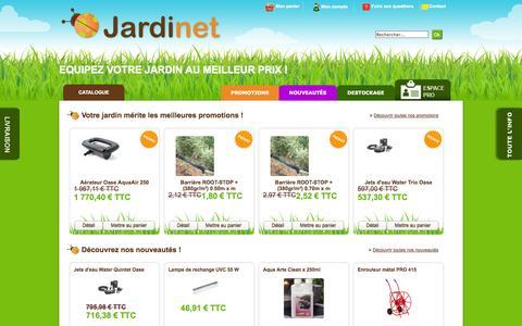 Screenshot of Home Page jardinet.fr - Un grand choix de produits destinés à la réalisation et à l'entretien de votre jardin. - captured Sept. 24, 2014