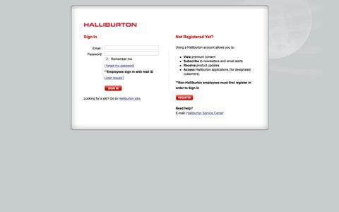 Screenshot of Login Page halliburton.com - Sign In - Halliburton - captured March 23, 2019