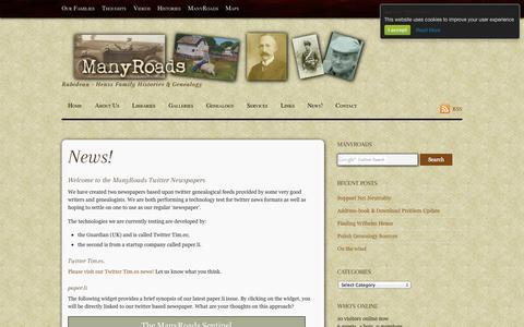 Screenshot of Press Page many-roads.com - News! - captured Sept. 30, 2014