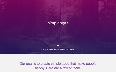Screenshot of Home Page simplebots.co - Simplebots / Simple Apps For Complex People - captured Dec. 5, 2015