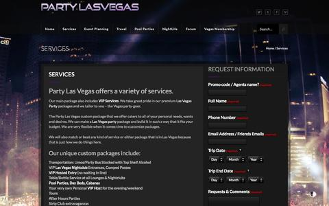 Screenshot of Services Page partylasvegas.us - Our Las Vegas Services | Party Las Vegas - captured Oct. 28, 2014