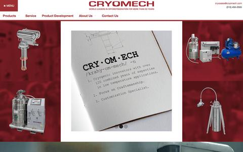 Screenshot of Home Page cryomech.com - World Leaders in Cryorefrigeration | Cryomech - captured Nov. 12, 2016