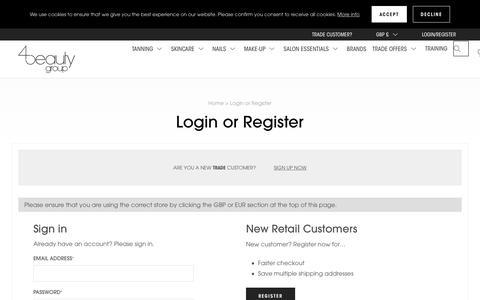Screenshot of Login Page 4beautygroup.com - 4Beauty Group  | 4Beauty Group - captured Sept. 20, 2018
