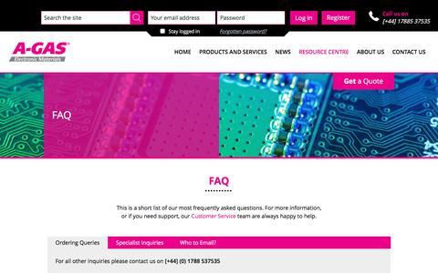 Screenshot of FAQ Page agasem.com - FAQ | A-Gas E M - captured April 30, 2017