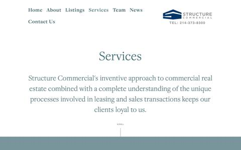 Screenshot of Services Page structurecommercial.com - Services — Structure Commercial - captured Oct. 20, 2018