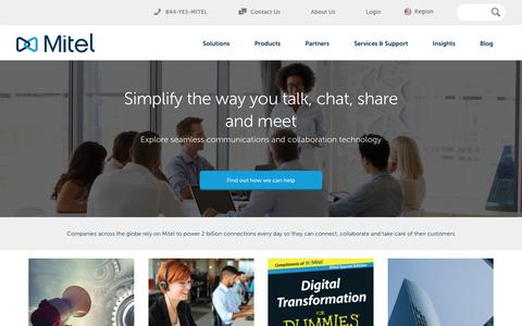 Screenshot of Home Page mitel.com - Business Phone Systems, VoIP, Collaboration Tools, Video Conferencing, Office Phones - captured Feb. 14, 2018