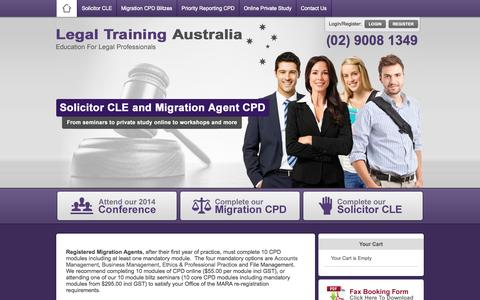 Screenshot of Home Page Contact Page Signup Page Login Page legaltrainingaustralia.com - Legal Training Australia - Legal Training Australia - captured Sept. 22, 2014