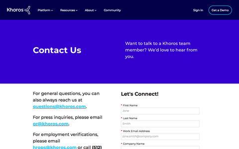 Screenshot of Contact Page khoros.com - Contact Us | Khoros - captured July 21, 2019