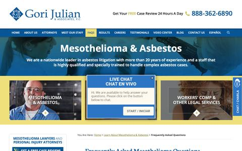 Screenshot of FAQ Page gorijulianlaw.com - Frequently Asked Questions About Mesothelioma and Asbestos - captured Sept. 29, 2018