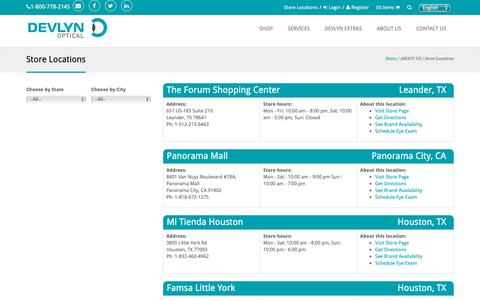 Screenshot of Locations Page devlynoptical.com - Devlyn Optical Store Locations | Houston, San Antonio, Leander TX - captured Oct. 9, 2018