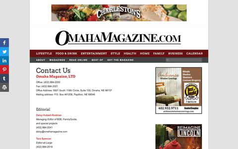 Screenshot of Contact Page omahamagazine.com - Contact Us | Omaha Magazine | Advertising & Marketing Agency - captured Aug. 22, 2019