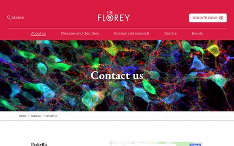 Screenshot of Contact Page florey.edu.au - Contact us - Florey - captured June 26, 2018