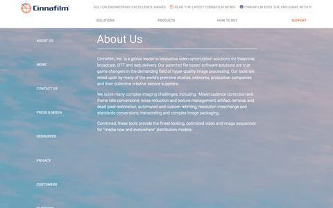 Screenshot of About Page cinnafilm.com - About Cinnafilm - captured Sept. 28, 2018