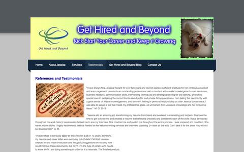 Screenshot of Testimonials Page gethiredandbeyond.com - Testimonials - GET  HIRED  AND  BEYOND: Kick Start Your Career and Keep it Growing - captured Oct. 2, 2014