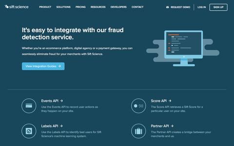 Screenshot of Developers Page siftscience.com - Fraud Detection Service Integration | Sift Science - captured Feb. 13, 2016