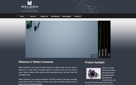 Screenshot of Home Page wioem.com - Weldon Industires | We Have Your Parts - captured Oct. 6, 2014