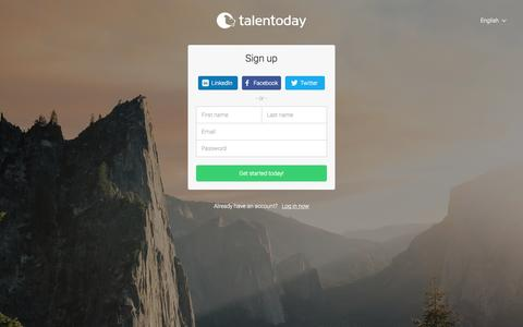 Screenshot of Signup Page talentoday.com - Sign up   Talentoday - captured Nov. 9, 2015