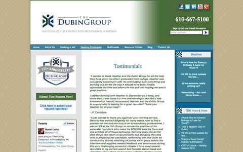 Screenshot of Testimonials Page thedubingroup.com - Testimonials   The Dubin Group - captured Sept. 19, 2014