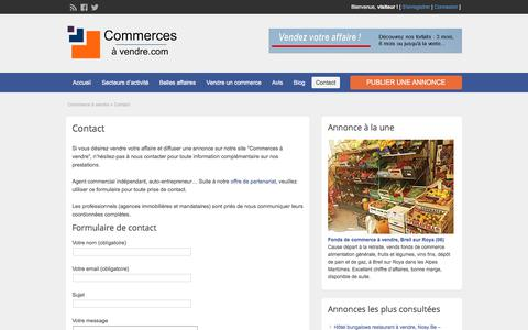 Screenshot of Contact Page commerces-a-vendre.com - Contact - Commerces à vendre - captured Feb. 10, 2018
