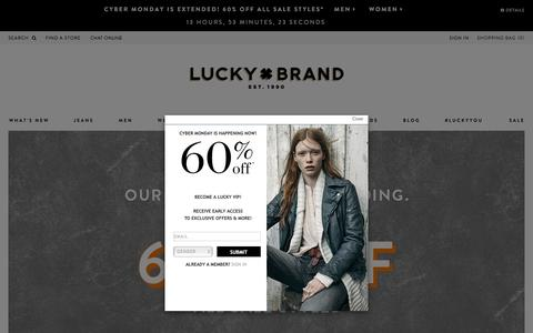 Screenshot of Home Page luckybrand.com - Luckybrand.com - 50% Off Sitewide - captured Dec. 1, 2015