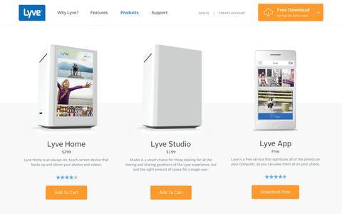 Screenshot of Products Page mylyve.com - Lyve Home, Lyve Studio + Lyve App | Lyve - captured Sept. 27, 2015
