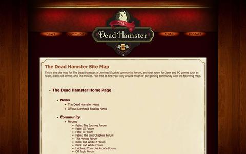 Screenshot of Site Map Page thedeadhamster.com - Site Map for The Dead Hamster - A Lionhead Studios Community - captured Sept. 30, 2014