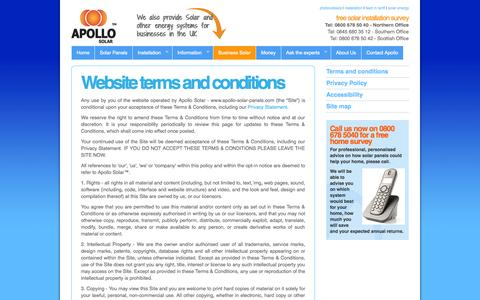 Screenshot of Terms Page apollo-solar-panels.com - Terms and conditions   Apollo - captured Oct. 5, 2014
