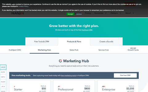 Screenshot of Pricing Page hubspot.com - Marketing Software Pricing | HubSpot - captured July 15, 2019