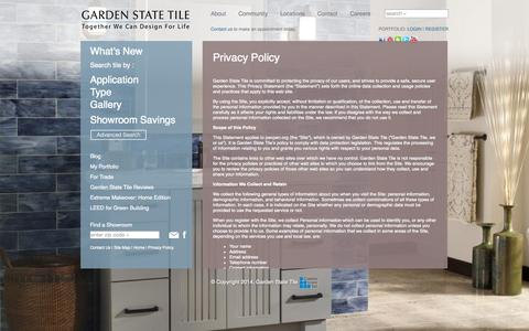 Screenshot of Privacy Page gstile.com - Privacy Policy - Garden State Tile - captured Sept. 24, 2014