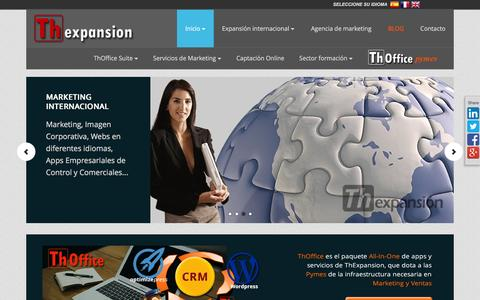 Screenshot of Home Page thexpansion.es - CRM online, email marketing y outsourcing comercial - captured Feb. 22, 2016