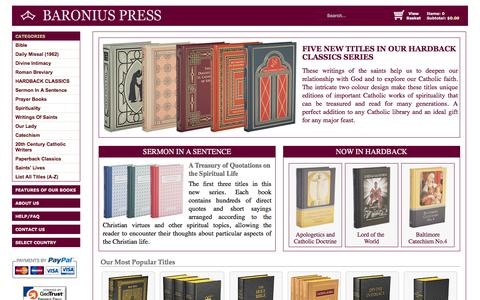 Screenshot of Home Page baroniuspress.com - Baronius Press: Catholic Publisher of Catholic Books, Catholic Bibles, Daily Missal, Liturgical Books, Catechism, Catholic Classics - Online Catholic Bookstore. - captured June 9, 2016