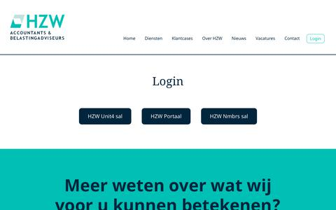 Screenshot of Login Page hzw.nl - Login - HZW accountants & belastingadviseurs - captured Dec. 24, 2017