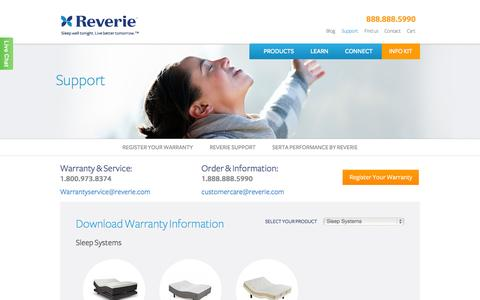 Screenshot of Support Page reverie.com - Support - Reverie - captured Oct. 26, 2014