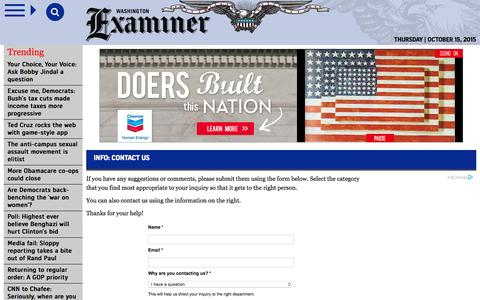 Screenshot of Contact Page washingtonexaminer.com - Contact Us | Information | Washington Examiner - captured Oct. 15, 2015