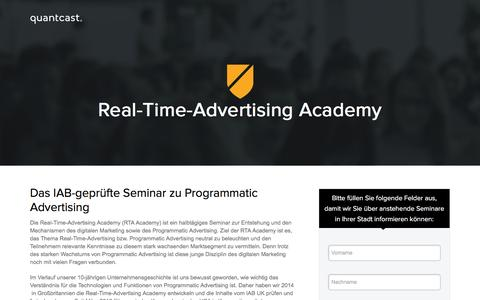 Screenshot of Landing Page quantcast.com - Real-Time-Advertising Academy - captured July 25, 2016