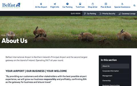 Screenshot of About Page belfastairport.com - About Us | Belfast International Airport - captured Oct. 10, 2017