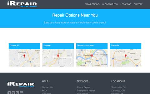 Screenshot of Locations Page irepairsolutions.com - iRepair Solutions Store Locations | Offering Same Day Repairs! - captured June 8, 2017