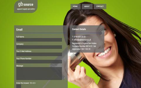 Screenshot of Contact Page gbsource.co.uk - GB Source | Contact Us - captured Oct. 1, 2014