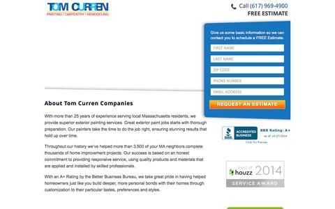 Screenshot of Landing Page tomcurrencompanies.com - Exterior Painting - Tom Curren CompaniesTom Curren Companies - captured Oct. 27, 2014