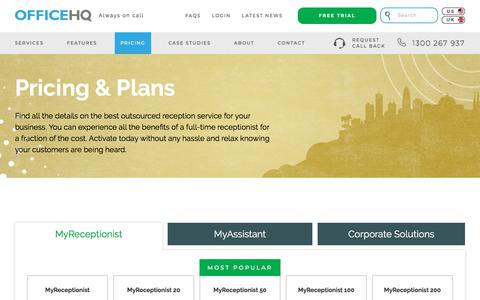 Screenshot of Pricing Page officehq.com.au - Pricing & Comparison   OfficeHQ - captured Sept. 21, 2018
