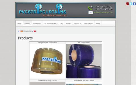 Screenshot of Products Page pvcstripcurtains.com - Products | PVC Strip Curtains Chennai - captured Feb. 18, 2016