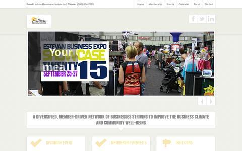 Screenshot of Home Page estevanchamber.ca - Estevan Chamber of Commerce - captured Sept. 19, 2015