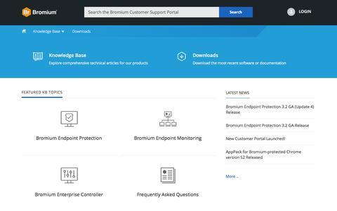 Screenshot of Support Page bromium.com - Bromium Customer Portal - captured Nov. 16, 2016