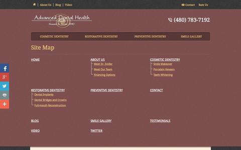 Screenshot of Site Map Page adhaz.com - Site Map - Advanced Health Dental - captured Oct. 4, 2014