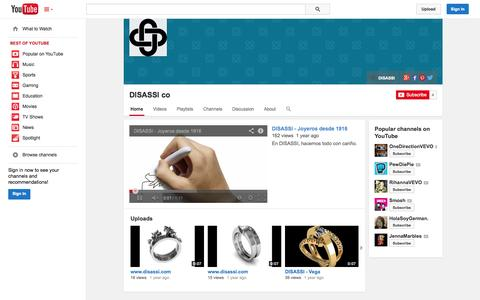 Screenshot of YouTube Page youtube.com - DISASSI co  - YouTube - captured Oct. 23, 2014