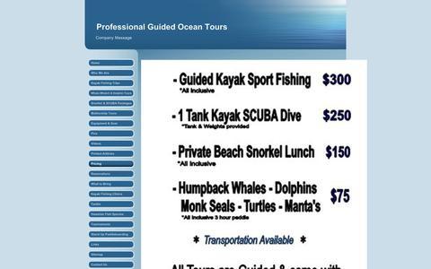 Screenshot of Pricing Page kayakfishinghawaii.com - Kayak Fishing Hawai'i - Pricing - captured Sept. 20, 2018