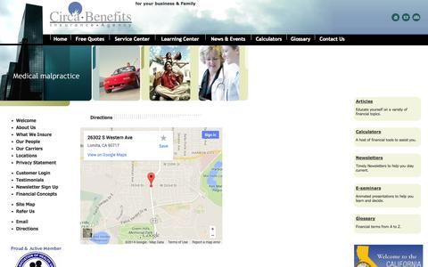 Screenshot of Maps & Directions Page circabenefits.com - Circa Benefits Insurance Agency health, auto, home insurance Lomita,CA. Agency Locations - captured Oct. 2, 2014