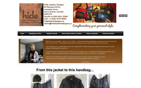 Screenshot of Home Page hideleatherdesigns.ca - Hide Leather Designs  - Home - captured Oct. 3, 2014